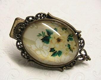 Clip, Vintage Bubble Glass Metal Clip, Floral, Goldtone Filigree Clip