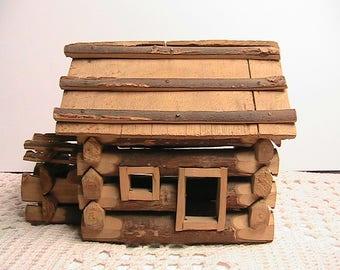 Log Cabin, Small Size Hand Carved Log Cabin, Vintage Wooden Log Cabin
