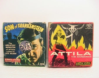 Film, Vintage 8mm Films, Son of Frankenstein and Attila, The Barbarian, Set of 2 Vintage Movies