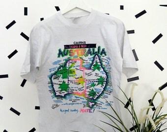 90's Vintage Neon Australia Shirt Size M