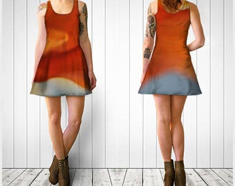Flare Dress, Skater Dress, Teen Clothing, Flower dress, Reversible dress, Orange Flare Dress, Floral Skater Dress, Spandex Mini Dress