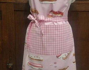 Chef's Apron with Pink Pastries Print