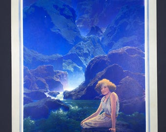 Vintage 1932 Maxfield Parrish cardboard print Moonlight
