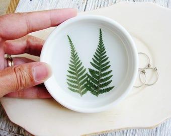 Fern Ring Dish, Nature Lovers Dish, Ceramic Dish, Ring Dish, Botanical Bowl, Jewelry Organizer