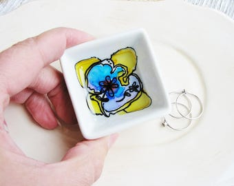 Abstract Art Ring Dish, Ceramic Ring Dish, Painted Jewelry Holder, Watercolor Dish, Small Organizer, Desk Storage, Minimalist Ring Holder