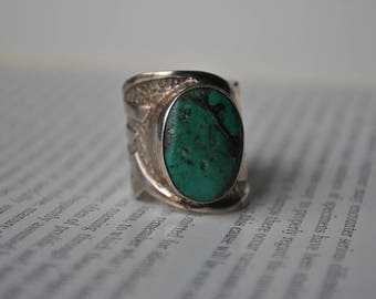 Vintage Sterling Turquoise Ring - 1970s Silver Cuff Ring