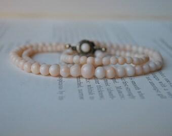 Antique Angelskin Coral Necklace - 1910s Art Deco Silver and Genuine Angelskin Coral Necklace