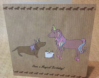 Dachshund Sausage Dog Unicorn Birthday card