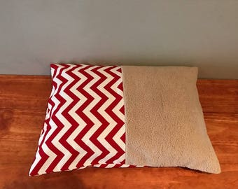 Red Chevron Half & Half Dog or Cat Bed Cover