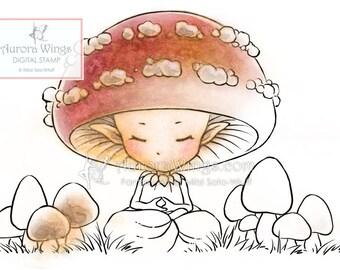 Digital Stamp - Instant Download - Meditating Mushroom - digistamp - Whimsical Sprite Line Art for Cards & Crafts by Mitzi Sato-Wiuff