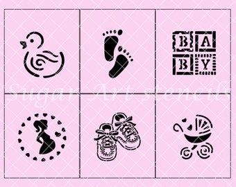 Baby Shower Stencils Set Of 6 Designs NW04