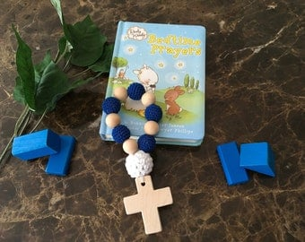 Wood Rosary Teether, Rosary Teether, Wood and Crochet rosary teether, Crochet Teether, Rosary decade teether, baptism gift, crochet rosary