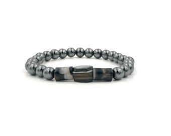 Free Shipping,Men's Hematite Bracelet,men's gemstone bracelet,handmade bracelet,black and white sardonyx,men's bracelet,hematite bracelet