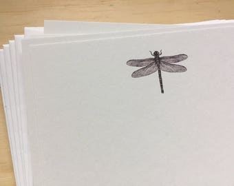 dragonfly stationery set, dragonfly note cards, vintage inspired flat note cards and envelopes