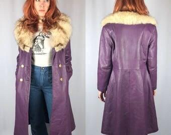 Vintage Purple Leather Fox Fur Trimmed Coat
