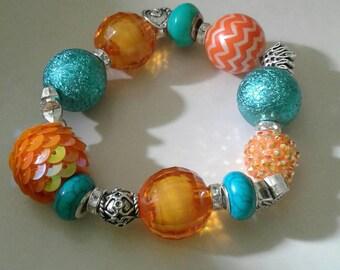 Orange and Aqua blue chunky bracelet