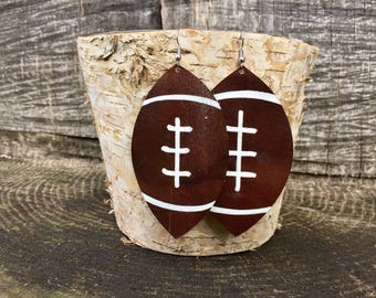 Large Dark Brown Leather Football Earrings (100% leather)