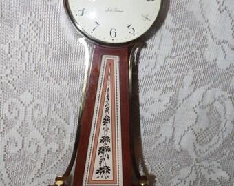 Antique Vintage Seth Thomas Banjo Wind Up Wall Clock Brass Wood Leaves Design