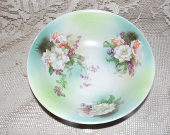 Antique Made In Austria Large Floral Bowl Beautiful!