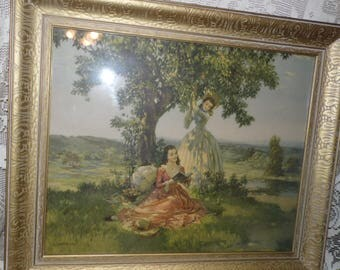 Antique Victorian Ladies On A Picnic Picture Print Ornate Gold Frame Signed L. Jambor