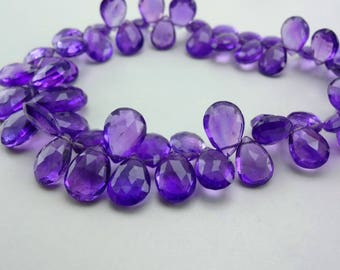 8-inch Natural African Amethyst faceted pear shape size 8-13mm 100cts