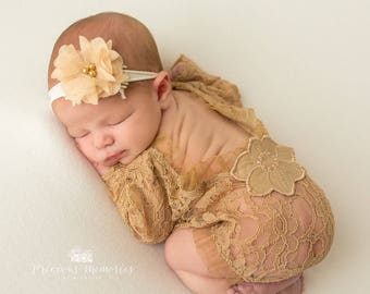 Newborn girl photo outfit brown lace romper and headband set, newborn nude cappuccino photo props baby girl open back short sleeve  romper