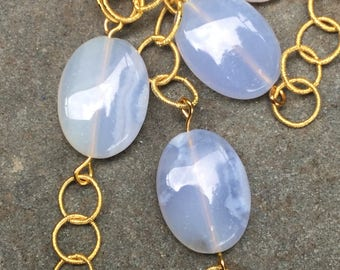 Blue Lace Agate, Keshi Pearl, and Swarovski Crystal Chain Necklace
