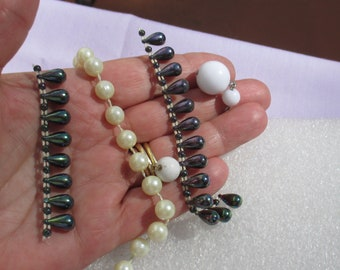 Lot Of Broken Iridescent & White Necklace Pieces  White Beaded Dangles
