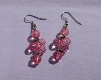 Retro Pink Acrylic Beaded Dangling Pierced Earrings