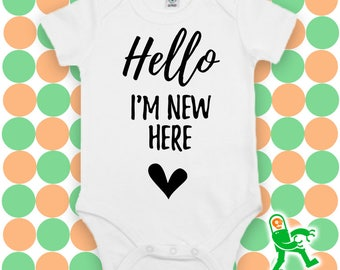 Hello I'm new here, cute baby grow, newborn outfit, hospital outfit, take home outfit, new baby outfit, coming home outfit, baby photography