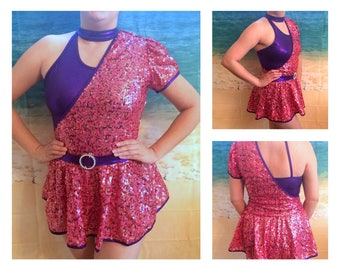 Figure Skating Dance Show Metallic purple pink and gold sequined dress Women's Size  M like new