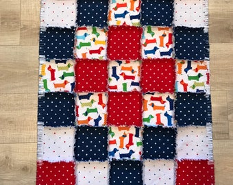 Flannel quilt, Flannel blanket, Dachshund quilt, doxie, Flannel fabric dog, red white & blue, dots,baby boy, nursery; 10% of PP to charity