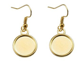 10 Pair GOLD Plated Earring Blanks  Earrings Findings Round Cabochon Settings Fits 12MM
