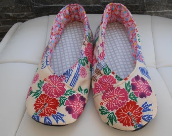 KIMONO SLIPPERS women floral Japanese fabric T41