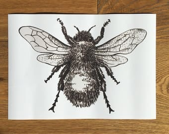 A4 Bee Print, Black and White