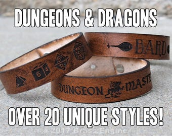 """3/4"""" Adjustable Leather bracelet - Gaming - D&D Classes, Attributes, Dungeonmaster - 6.75""""-8.75"""" - Color Choice"""