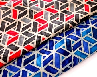 Modal cotton fabric, geometric print, Indigo glue, grey red Indian fabric, by half yard, fashion apparel fabric