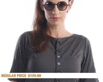 Party dress - cotton dress - wrinkle cotton jersey dress- boho dress -dark gray dress -  by Natafashion