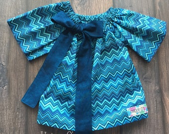 Baby girls A-line  peasant dress with removable bow, sizes 3-6 mo. and 9-12 months, ready to ship!