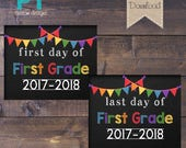 """INSTANT DOWNLOAD - First Grade First Day and Last Day of School Sign 2017-2018 - PRINTABLE 8""""X10"""""""