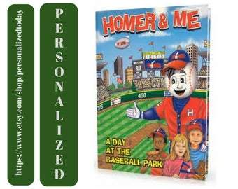 Personalized Book Homer & Me Baseball Sports Anti Drugs Custom Name Kid Illustrated Safety Health Hardcover Children's Fiction Ages 5 to 12