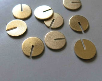 100pcs Raw Brass Round Charms , Findings 10mm - F570