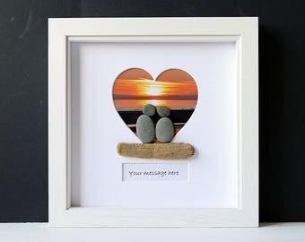 Framed Pebble Art - Pebble Lovers - Stone People - Pebble Couple - Heart Frame - Engagement Wedding Gift - Personalised Pebble Art - Sunset