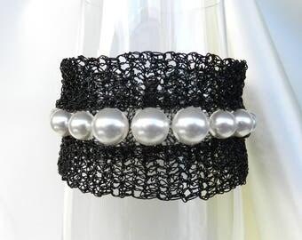 Black Wire Crochet Bracelet Wire & Swarovski Pearls Bangle Bracelet Crochet Pearls Cuff Elegant Black White Bracelet AlfaStudioArtistica