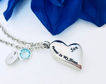 Forever in my heart, Son ,Cremation Necklace, Initial Hand stamped, Memorial Gift, Loss of Loved One,Loss of Son,Memorial Charm,Urn Necklace