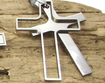 Silver Cross Pendant, 42x28mm Matte and Shiny Cross with Cutout Cross, Stainless Steel Double Cross, Christian Jewelry, Item 1446n