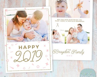 New Year Card - Gold Glitter- Photoshop template - AL003 - INSTANT DOWNLOAD