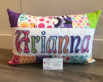 Bright butterfly and flower children's pillow case with name. 12x18 inches