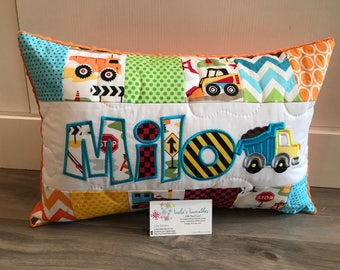 Construction truck personalized pillow case, colourful, 12x18 inches