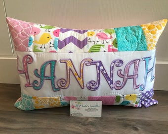 Spring Birds personalized throw pillow case in pink, purple, blue and yellow. 12x18 inches